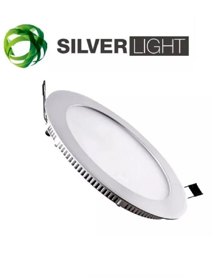 Panel LED 18W redondo empotrable luz cálida SILVERLIGHT niquelado