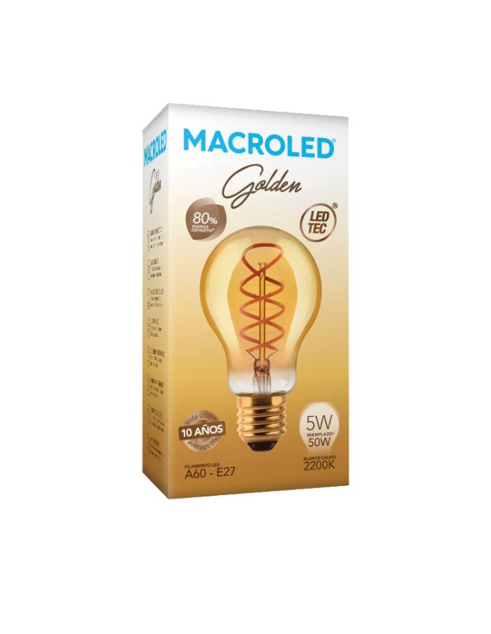 Bulbo filamento LED Golden A60 5W E27 Macroled