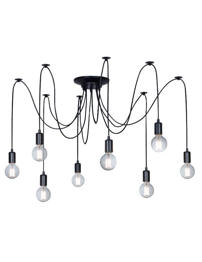 Araña 8 luces E27 18cm Leuk Medusa negra