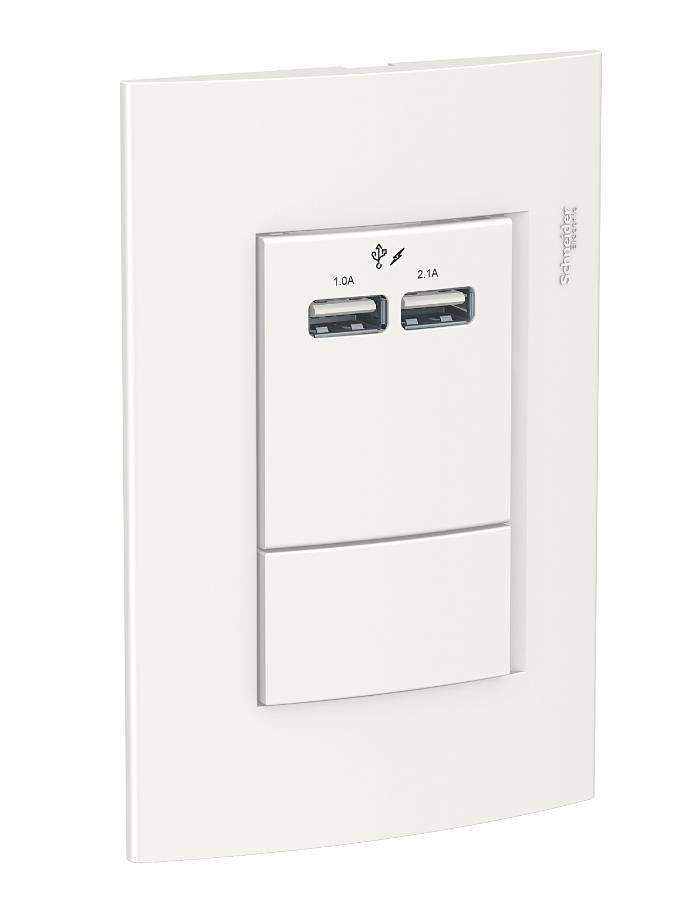 Toma Doble USB 2,1A Schneider Roda Completo blanco