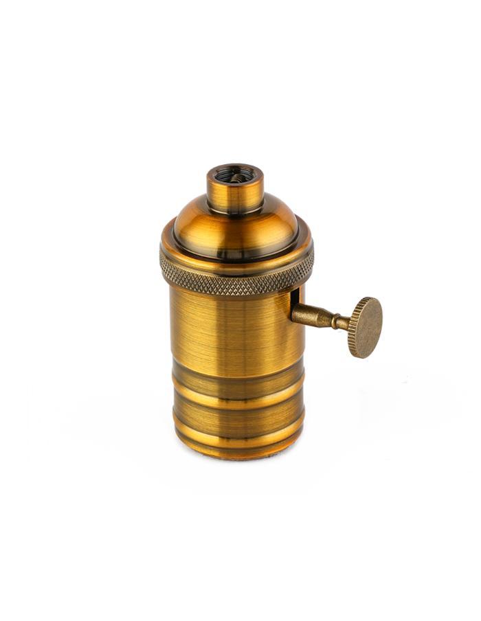 Portalámpara E27 aluminio Macroled Vintage con perilla bronce brillante